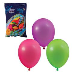"""Шары воздушные 10"""" (25 см), комплект 100 шт., 12 неоновых цветов, в пакете, 1101-0002"""