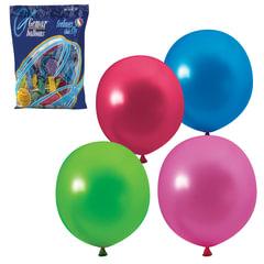 """Шары воздушные 12"""" (30 см), комплект 100 шт., 12 цветов металлик, в пакете, 1101-0004"""