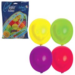 """Шары воздушные 12"""" (30 см), комплект 100 шт., 12 неоновых цветов, в пакете, 1101-0005"""