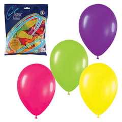 """Шары воздушные 7"""" (18 см), комплект 100 шт., 12 неоновых цветов, в пакете, 1101-0021"""