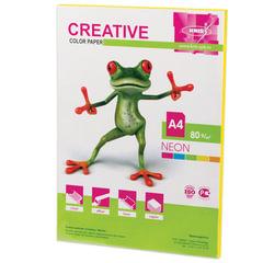 Бумага цветная CREATIVE color, А4, 80 г/м2, 50 л., неон, желтая, БНpr-50ж