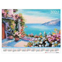 """Календарь, А2, 2020 год, 60х45 см, горизонтальный, """"Цветочных красок акварель"""", HATBER, Кл2_17102"""