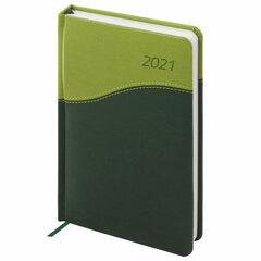 """Ежедневник датированный 2021 А5 (138x213 мм) BRAUBERG """"Bond"""", кожзам, зеленый/салатовый, 111405"""