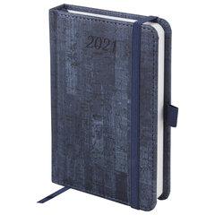 """Ежедневник датированный 2021 МАЛЫЙ ФОРМАТ (100х150 мм) А6, BRAUBERG """"Wood"""", кожзам, держатель для ручки, синий, 111427"""