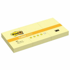 Блоки самоклеящиеся (стикер) POST-IT ORIGINAL 38х51 мм, КОМПЛЕКТ 3 шт. по 100 листов, желтые, 653