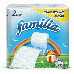 Бумага туалетная бытовая, спайка 4 шт., 2-слойная (4х16,2 м), FAMILIA, белая