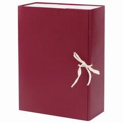 Короб архивный А4 (240х330 мм), 100 мм, 2 завязки, бумвинил, до 900 листов, бордовый, 122805