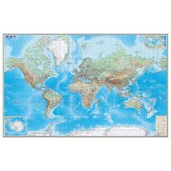"""Карта настенная """"Мир. Обзорная карта. Физическая с границами"""", М-1:15 млн., разм. 192х140 см, ламинированная"""