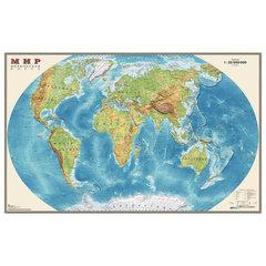 """Карта настенная """"Мир. Физическая карта"""", М-1:25 млн., размер 122х79 см, ламинированная, 640"""