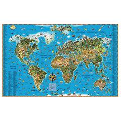 """Карта настенная для детей """"Мир"""", размер 116х79 см, ламинированная, 629"""