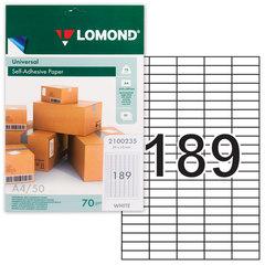 Этикетка самоклеящаяся 25,4х10 мм, 189 этикеток, белая, 70 г/м2, 50 л., LOMOND, 2100235