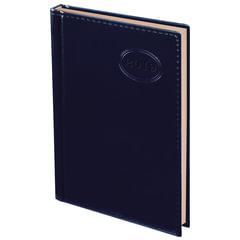 """Ежедневник датированный 2019, А6, BRAUBERG """"Imperial"""", гладкая кожа, кремовый блок, темно-синий, 100х150 мм"""