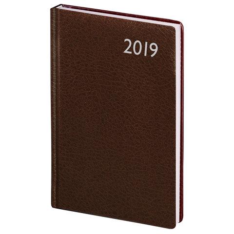 """Еженедельник датированный 2019 г., А5, BRAUBERG """"Profile"""", фактурная кожа, коричневый, 145х215 мм"""