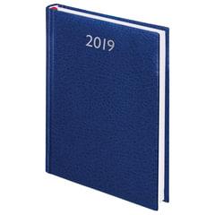 "Ежедневник датированный 2019, А5, BRAUBERG ""Profile"", фактурная кожа, синий, 138х213 мм"
