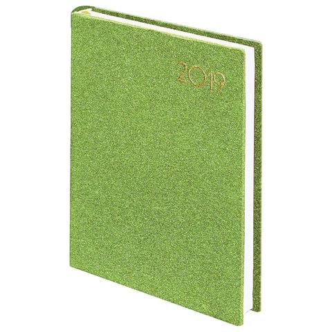 "Ежедневник датированный 2019, А5, BRAUBERG ""Holiday"", кожзам, блёстки, зеленый, 138х213 мм"