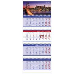 """Календарь квартальный на 2019 г., HATBER, """"Бизнес"""", 4-х блочный, на 4-х гребнях, """"Bridge"""", 4Кв4гр3 08042"""