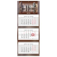 """Календарь квартальный на 2019 г., HATBER, """"Люкс"""", 3-х блочный, на 3-х гребнях, """"City Style"""", 3Кв3гр2ц 18265"""