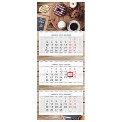 """Календарь квартальный на 2019 г., HATBER, """"Люкс"""", 3-х блочный, на 3-х гребнях, """"Coffee break"""", 3Кв3гр2ц 18670"""