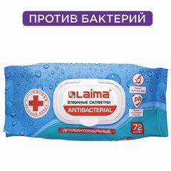 Салфетки влажные 72 шт., LAIMA/ЛАЙМА Antibacterial, антибактериальные, клапан крышка, 129997