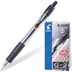 Ручка гелевая автоматическая с грипом PILOT G-2, ЧЕРНАЯ, корпус прозрачный, узел 0,5 мм, линия письма 0,3 мм