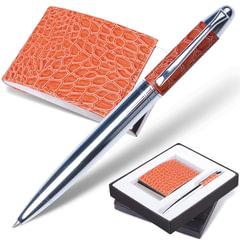 """Набор GALANT """"Prestige Collection"""": ручка, визитница, коричневый, """"кожа крокодила"""", подарочная коробка"""