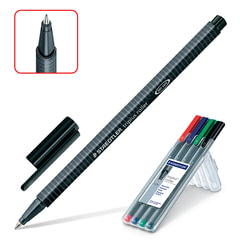 """Ручки-роллер STAEDTLER в НАБОРЕ из 4 шт., АССОРТИ, """"Triplus Roller"""", трехгранная, узел 0,7 мм, линия письма 0,4 мм, 403 SB4"""