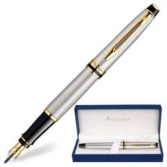 """Ручка подарочная перьевая WATERMAN """"Expert 3 Stainless Steel GT"""", серебристый корпус, позолоченные детали, синяя, S0951940"""