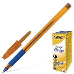 """Ручка шариковая с грипом BIC """"Orange Grip"""", СИНЯЯ, корпус оранжевый, узел 0,8 мм, линия письма 0,3 мм, 811926"""