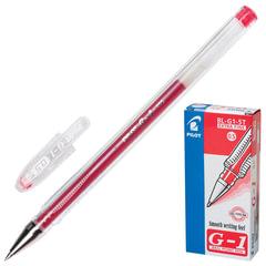 """Ручка гелевая PILOT """"G-1"""", КРАСНАЯ, корпус прозрачный, узел 0,5 мм, линия письма 0,3 мм, BL-G1-5T"""