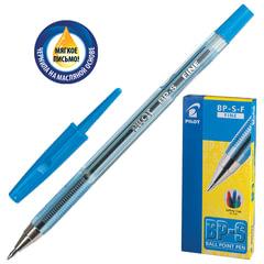 """Ручка шариковая масляная PILOT """"BP-S"""", корпус тонированный синий, узел 0,7 мм, линия 0,32 мм, синяя"""