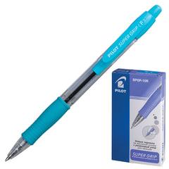 """Ручка шариковая масляная автоматическая PILOT """"Super Grip"""", голубые детали, узел 0,7 мм, линия 0,32 мм, синяя"""