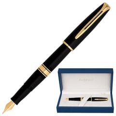 """Ручка подарочная перьевая WATERMAN """"Charleston Ebony Black GT"""", черный корпус, позолоченные детали, синяя, S0700980"""