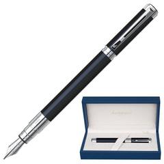 """Ручка подарочная перьевая WATERMAN """"Perspective Black CT"""", черный лак, никеле-палладиевое покрытие деталей, синяя, S0830660"""