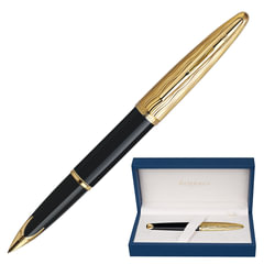 """Ручка подарочная перьевая WATERMAN """"Carene Essential Black GT"""", черный лак, позолоченные детали, синяя, S0909750"""