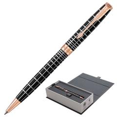 """Ручка подарочная шариковая PARKER """"Sonnet Premium Brown Rubber PGT"""", коричневый корпус, позолоченные детали, черная, 1931483"""