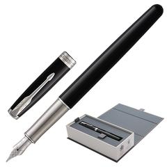 """Ручка подарочная перьевая PARKER """"Sonnet Core Black Lacquer CT"""", черный глянцевый лак, палладиевое покрытие, черная, 1948312"""