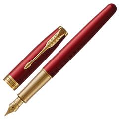 """Ручка подарочная перьевая PARKER """"Sonnet Core Intense Red Lacquer GT"""", красный глянцевый лак, позолоченные детали, черная, 1931478"""