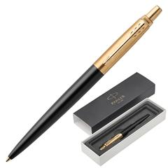"""Ручка шариковая PARKER """"Jotter Premium Bond Street Black GT"""", корпус черный лак, позолоченные детали, синяя"""