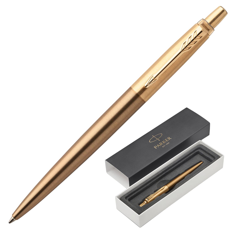 """Ручка шариковая PARKER """"Jotter Premium West End Gold Brushed GT"""", корпус бронзовый лак, позолоченные детали, синяя"""