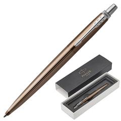"""Ручка шариковая PARKER """"Jotter Premium Carlisle Brown Pinstripe CT"""", корпус коричневый лак с гравировкой, синяя"""