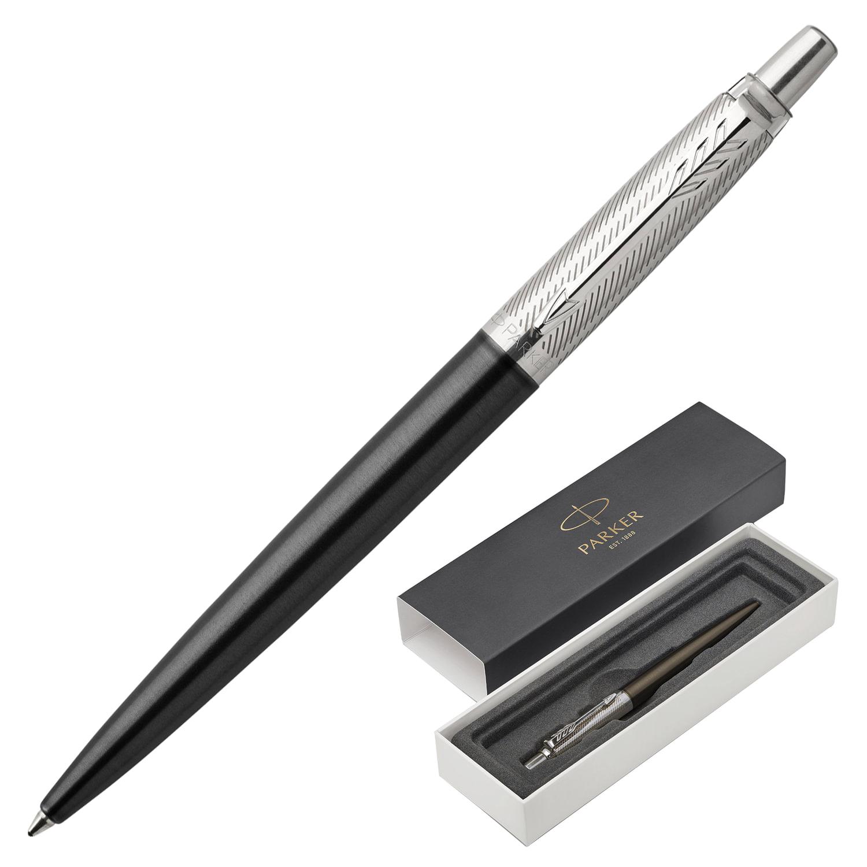 """Ручка шариковая PARKER """"Jotter Premium Tower Grey Diagonal CT"""", корпус темно-серый лак с гравировкой, синяя"""