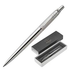 """Ручка шариковая PARKER """"Jotter Premium Stainless Steel Diagonal CT"""", корпус серебристый с гравировкой, синяя"""