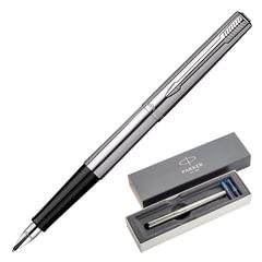 """Ручка подарочная перьевая PARKER """"Jotter Core Stainless Steel CT"""", серебристый корпус, хромированные детали, синяя, 1955311"""