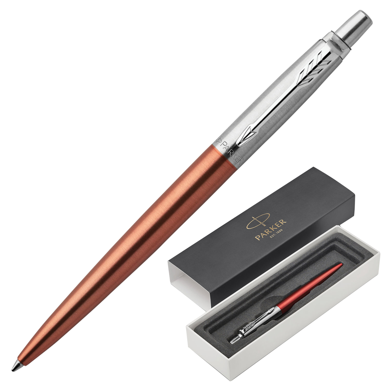 """Ручка шариковая PARKER """"Jotter Core Chelsea Orange CT"""", корпус оранжевый, хромированные детали, синяя"""