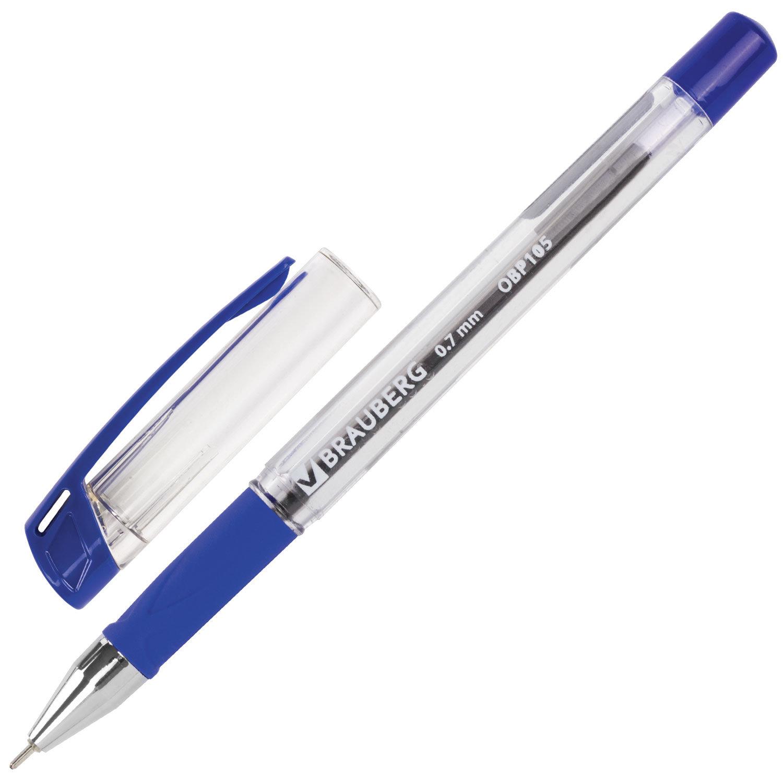 Ручка шариковая масляная с грипом BRAUBERG Active, узел 0,7 мм, линия 0,35 мм, синяя
