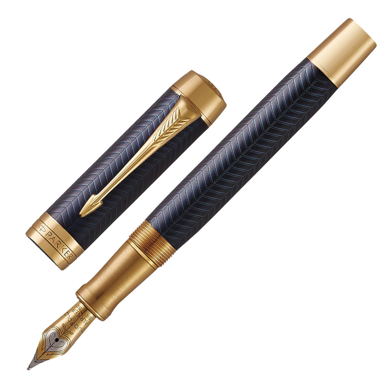 """Ручка перьевая PARKER """"Duofold Prestige Blue Chevron GT"""", перо F, корпус синий, позолоченные детали, черная"""