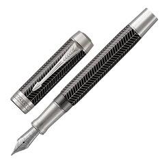 """Ручка перьевая PARKER """"Duofold Prestige Black Chevron CT"""", перо F, корпус черный, рутениевые детали, черная"""