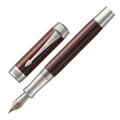"Ручка перьевая PARKER ""Duofold Prestige Burgundy Chevron CT"", перо F, корпус бургунди, черная, 1945418"