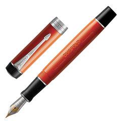 """Ручка перьевая PARKER """"Duofold Classic Centennial Big Red Vintage CT"""", корпус красный, палладиевые детали, черная"""