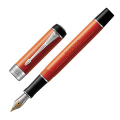 """Ручка перьевая PARKER """"Duofold Classic International Big Red Vintage CT"""", корпус красный, палладиевые детали, черная, 1931377"""